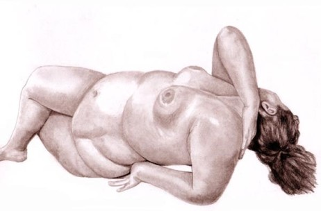 drawing of nude woman lounging