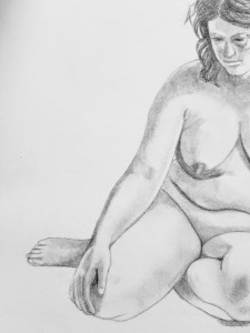 rough sketch of sad nude woman looking down