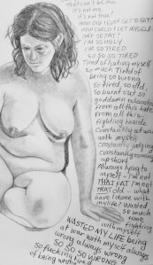 sketch of nude woman with writing about dissatisfaction with herself and her body