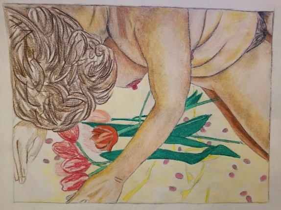 drawing of nude woman leaning over flowers