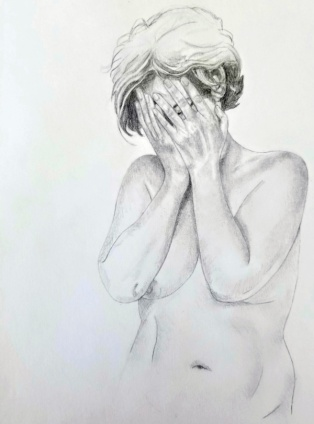 drawing, nude woman in distress