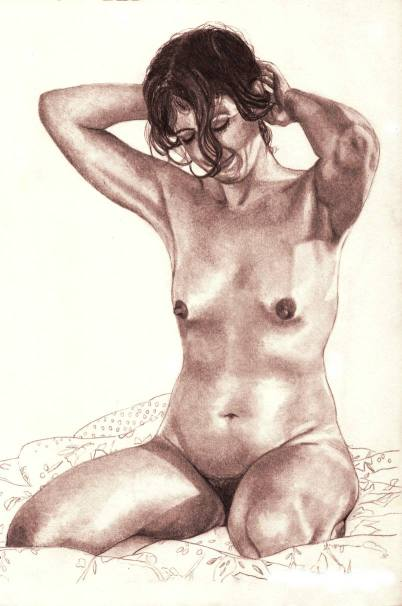 Nude woman, kneeling on bed with hands in hair, smiling shyly