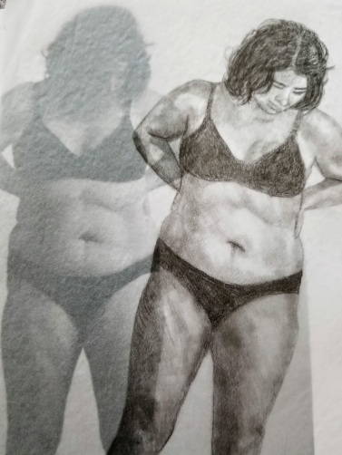 drawing of overweight woman in underwear